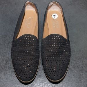 FRANCO SARTO BLACK SUEDE PERFORATED FLAT